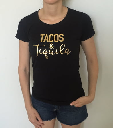 TACOS & Tequila Fitted Round Neck Tee