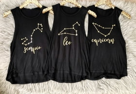 Flowy Tank Tops Constellation Zodiac Sign Flowy Muscle Tank
