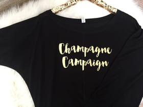 Bachelorette Party Shirts Champagne Campaign Long Sleeve Wide Neck Tee