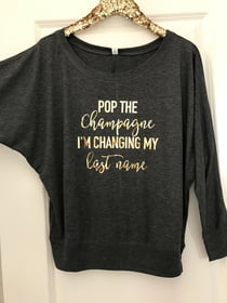 Bachelorette Party Shirts POP THE Champagne Long Sleeve Tee