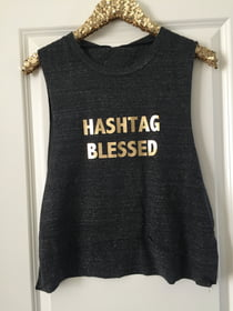 Cropped Tanks Hashtag Blessed Cropped Muscle Tank